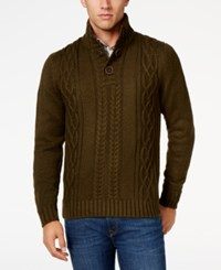 Weatherproof Vintage Men's Big And Tall Cable Knit Sweater Only At Macy's Military Olive