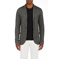 John Varvatos Men's Crinkled Sweater Blazer Grey