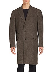 Brunello Cucinelli Cashmere Blend Herringbone Coat Grey