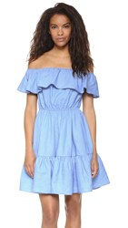 English Factory Ruffle Dress Blue Denim
