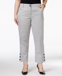 Charter Club Plus Size Tummy Control Button Hem Capri Pants Only At Macy's Deep Black Combo