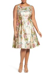 Adrianna Papell Plus Size Women's Metallic Floral Tea Length Dress