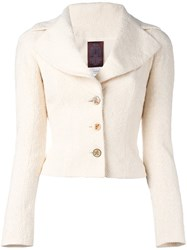 John Galliano Vintage Fitted Boucle Jacket Nude And Neutrals