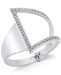 Inc International Concepts Silver Tone Asymmetrical Crystal Cuff Bracelet Only At Macy's