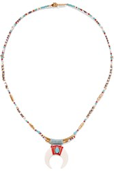 Chan Luu Gold Plated Beaded Necklace Gold White