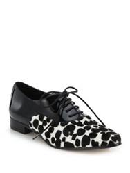 Michael Kors Lottie Cheetah Print Calf Hair And Patent Leather Oxfords Black White