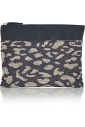 Iris And Ink Leopard Jacquard And Textured Leather Clutch