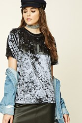 Forever 21 Faux Graphic Velveteen Tee Navy Black