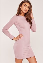 Missguided Petite Long Sleeve Jersey Dress Purple Mauve