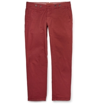 Barena Slim Fit Stretch Cotton Twill Trousers Red