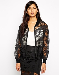Max C London Max C Bomber Jacket In Sheer Floral Black