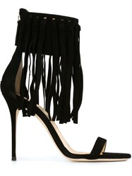Giuseppe Zanotti Design Fringed Stiletto Sandals Black