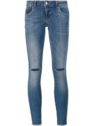 Anine Bing Ripped Skinny Jeans Blue