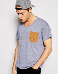 American Apparel T Shirt With Contrast Pocket Heathergrey