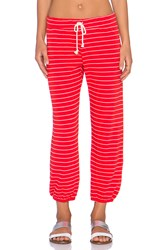 Nation Ltd. Hamptons Stripe Medora Capri Sweatpant Red