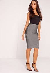 Missguided Premium Curved Front Bandage Midi Skirt Grey Grey