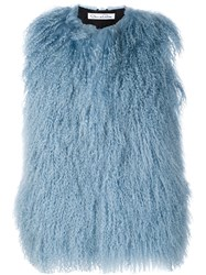 Oscar De La Renta Shearling Sleeveless Jacket Blue