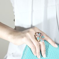 Cielle London Statement Soleil Cocktail Ring Blue Gold Green