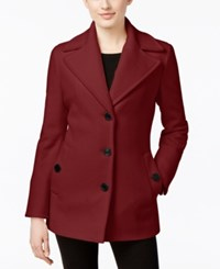 Calvin Klein Wool Cashmere Blend Single Breasted Peacoat Only At Macy's Burgundy
