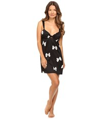 Kate Spade Charmeuse Chemise Block Bow Women's Pajama Black