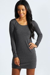 Boohoo Long Sleeve Scoop Neck Bodycon Dress Charcoal