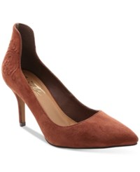 Nanette Lepore By Sophie Embroidered Pointed Toe Pumps Women's Shoes Rust