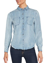 Saks Fifth Avenue Red Kenza Long Sleeve Shirt Faded Blue
