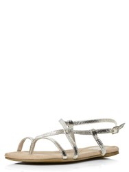 Evans Extra Wide Fit Silver Toe Post Sandal Silver Metallic