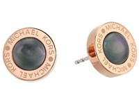 Michael Kors Logo Mother Of Pearl Stud Earrings Rose Gold Grey Earring Gray