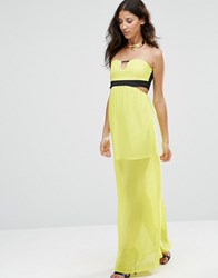 Twin Sister Sleeveless Cut Out Maxi Dress Lime Yellow