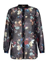 Yumi Winter Floral Print Shirt Black
