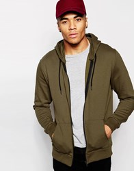 New Look Zip Through Hoodie Khaki