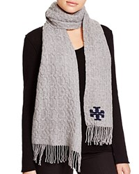Tory Burch Whipstitch Signature T Scarf Gray