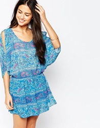 Juicy Couture Paisley Print Beach Cover Up Drkroyal431