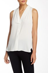 Vince Camuto Pleated V Neck Hi Lo Tank Petite White