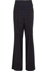 Dion Lee Pinstriped Stretch Cady Wide Leg Pants Navy