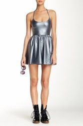 American Apparel Shiny Figure Skater Dress Gray