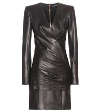 Balmain Ruched Leather Mini Dress Black