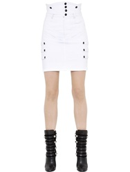 Isabel Marant High Waisted Stretch Cotton Denim Skirt White