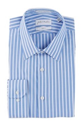 John W. Nordstrom Trim Fit Striped Dress Shirt Blue