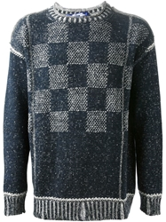 Junya Watanabe Comme Des Garcons Man Checked Pattern Sweater Blue