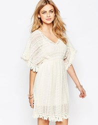 Hazel Lace Flutter Sleeve Dress Natural Beige