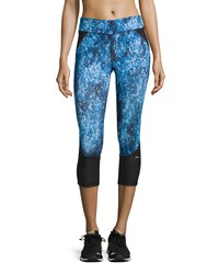 X By Gottex Printed Capri Performance Leggings Blue Combo