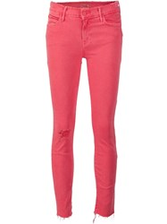 Mother Frayed Skinny Jeans Red
