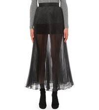 Christopher Kane Pleated Organza Midi Skirt Black