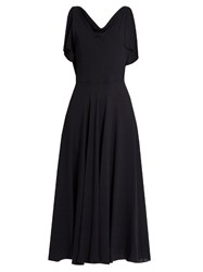 Valentino Boat Neck Silk Georgette Midi Dress Navy