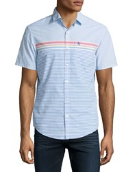 Penguin Short Sleeve Woven Shirt W Stripes Skydiver