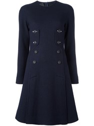 Cedric Charlier Button Up Flared Dress Blue