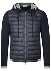 Moncler Navy Shell And Cotton Jacket