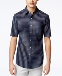 Club Room Men's Todrick Striped Short Sleeve Shirt Only At Macy's Navy Blue